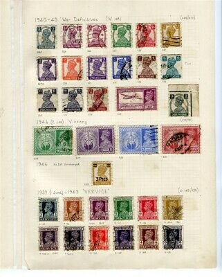 INDIA; 1940-46 early GVI mixed used lot of values on small album page