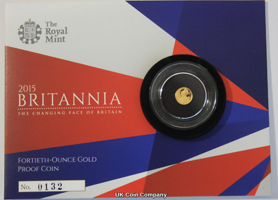2015 24k Gold Proof Britannia 1/40th Ounce 50p Coin Low Issue Number 132