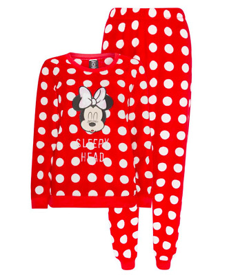 Ladies Fleece Pyjamas Disney Minnie Mouse Women's Winter PJs 6-20 Primark