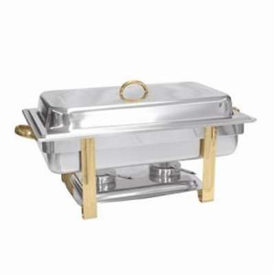 Thunder Group SLRCF0833GH, 8-Quart Stainless Steel Gold Accented Oblong Chafer