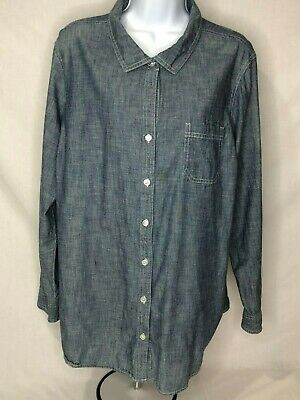 Old Navy Women'sPlus 2X Blue Long Sleeve Chambray Button Front Shirt 100% Cotton