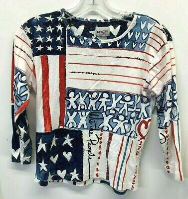"""Chicos """"We The People"""" American Flag Patriotic Printed T-Shirt Size 0   (6)"""