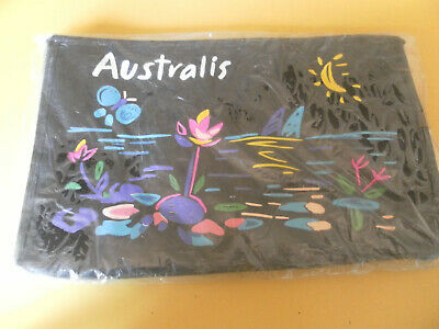 1980's VINTAGE/RETRO AUSTRALIS MAKE UP COSMETIC BAG- BLACK & MULTI COLOUR- NEW