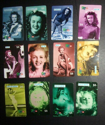 Set of 12 Marilyn Monroe Month vintage phone cards prepaid Months $8 ACMI #2081