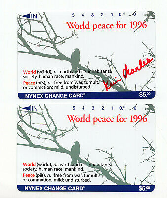 2 NYNEX World Peace for 1996 vintage phone cards signed Kein Charles ID#2093