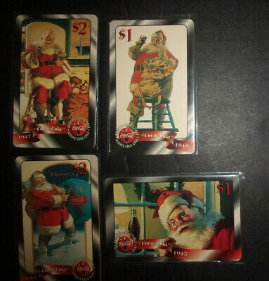 4 Coca Cola advertising vintage phone cards Sprint Santa Claus 1990s ID#2078