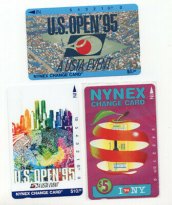 3 NYNEX change card vintage phone cards US Open tennis I love NY sealed  ID#2087