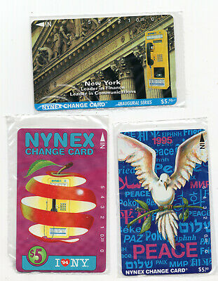 3 NYNEX change card vintage phone cards I love NY Peace Telephone sealed #2088
