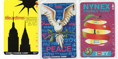 3 NYNEX change card vintage phone cards Peace I love NY Expo '95 sealed  ID#2086