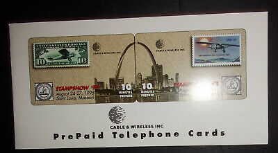 1995 St. Louis Missouri Stampshow phone cards prepaid calling cards ID#2073