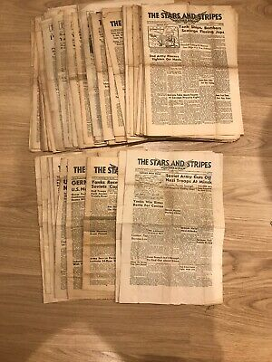 Lot Of 73 - WWII Stars & Stripes Newspaper Dated 1944 To 1945 Different Editions