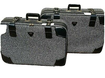 Elite Vintage Suitcases Black And white berber Fabric Set Of 2 great condition