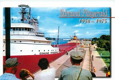 SS Edmund Fitzgerald Great Lakes Freighter Ship at Sault Ste Marie MI Postcard