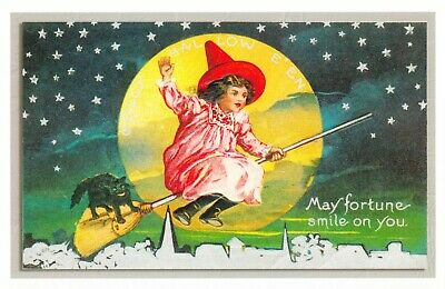 Halloween Girl Witch and Black Cat Flying on Broom Full Moon Repro Postcard #5