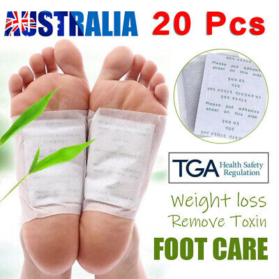 20PCS Detox Kinoki Foot Patch Pad Natural plant Herbal Toxin Removal Weight AU