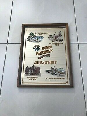 Vintage Swan Brewery Celebrated Ale & Stout Advertising Bar Mirror