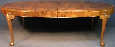 Waring And Gillow 1930s Art Deco Burr Walnut Wind Out Extending Dining Table