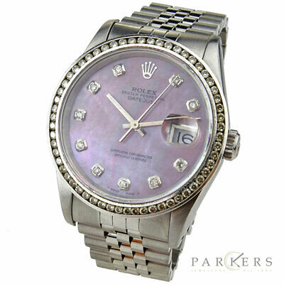 Rolex Datejust Oyster Perpetual Steel Mother Of Pearl Diamond Wristwatch 16234