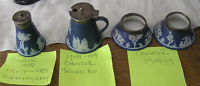 Wedgwood Lovely Turn Of Century Salts, Pepperette & Mustard Hall Marked Silver