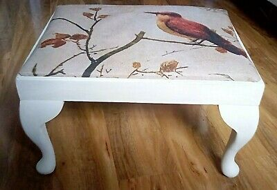 Refurbished Vintage French Style Solid Wood Foot Stool. Antique White.