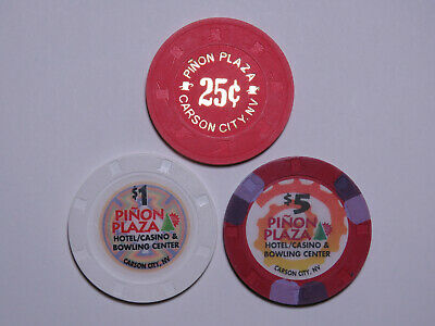Pinon Plaza - Carson City Nevada - 25 Cent $1 & $5 Casino Chip Lot - H&C