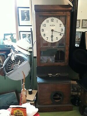 Oak Cased BLICK Clocking in Machine Time Recorder