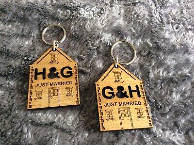 Two Wooden Key Rings 'H & G' And G & H' Just Married