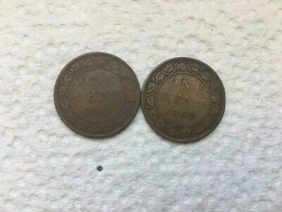 2 X 1907 Large Canadian Pennies