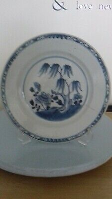 Lovely Antique  Chinese Blue And White Plate Trees and floral A/f!!!