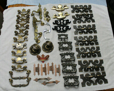 Lot of 43 Unique Cabinet / Furniture Pulls, Knobs & Hinges