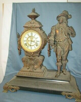 Antique Ansonia Open Escapement Figural Musketeer Cavalier Mantle Clock