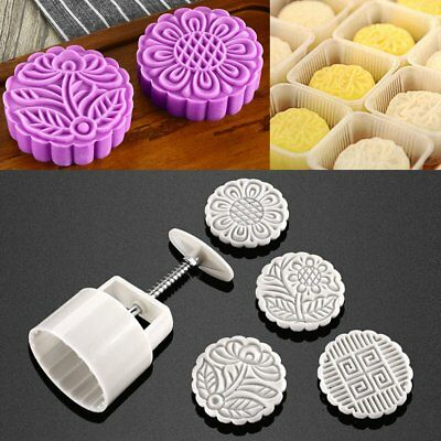 125g 4 Flower Stamps Round Pastry Cake Baking Mold Cookies Mooncake