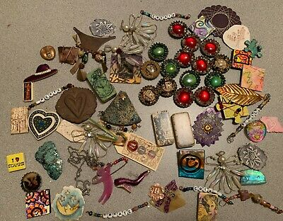 Huge Junk Drawer Lot  - Jewelry - Smalls - Finished Altered Art Pieces Collage