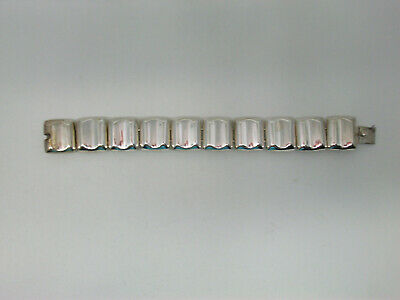 Vintage Mexico Sterling Silver Concave Link Heavy Chunky Wide Bracelet