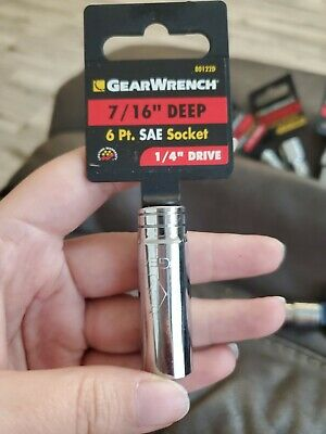 GearWrench 80122D 1//4 Drive 6 Point Deep SAE Socket 7//16 Black