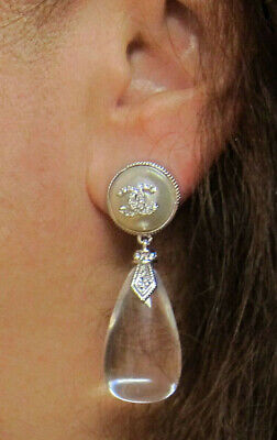CHANEL Classic CC Logo Drop Crystal Pearl Earrings Silver Tone