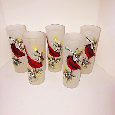Set of 5 White Frosted HandPainted Tall Iced Tea Glasses With cardinals