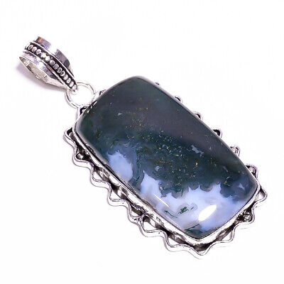 """Moss Agate Gemstone Ethnic Style Jewelry 925 Sterling Silver Pendant 2.5"""" PM2709"""