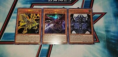 YuGiOh! Egyptian God Cards Prismatic Secret Rare Obelisk, Slifer, Ra. ALL NEW