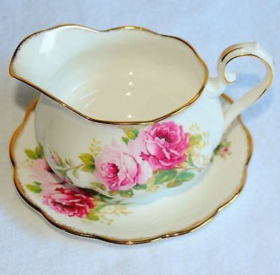 Royal Albert Bone China American Beauty 2 Items Large Gravy boat with Underplate