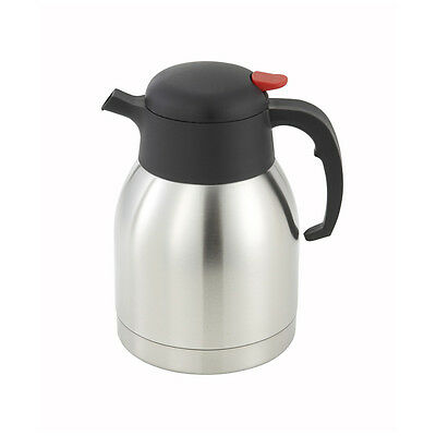 Winco CF-1.5, 1.5-Liter Stainless Steel Body and Liner Carafe with Push Button T
