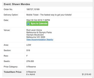 Shawn Mendes Tickets Melbourne
