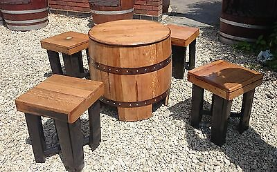 Recycled Wooden Solid Oak Whiskey Keg Garden Table and Set of Four Stools