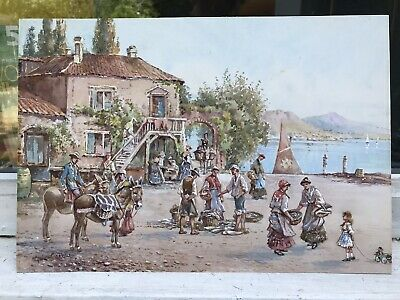 19th Century Italian watercolour of a town in Naples by Gab Carelli - NO RESERVE