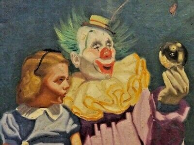 "antique painting CRYSTAL BALL GAZERS clown GIRL signed CANVAS 34"" impressionism"
