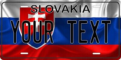 Slovakia Flag License Plate Personalized Car Auto Bike Motorcycle Custom Tag