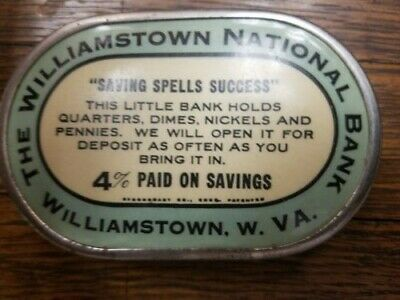 Antique. The Williamstown National Bank. Williamstown W. Va./ Celluloid Bank .