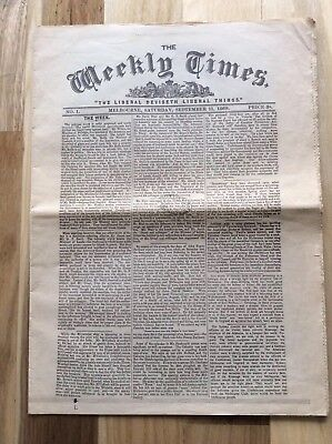 Newspaper The Weekly Times No.1 Setember 11, 1869