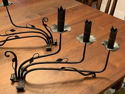 Hand Forged Cast Iron Candle Holders - Excellent Vintage Condition