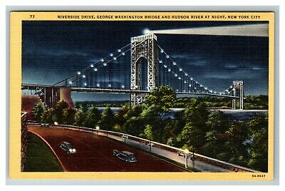 Riverside Dr., George Washington Bridge, Hudson River Night NY Linen Postcard G3